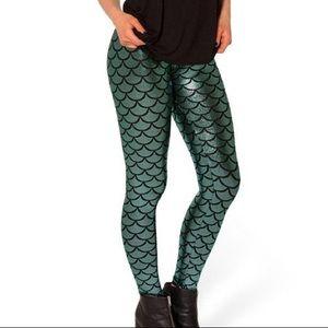 BlackMilk Mermaid Leggings Blue/Green Teal Foil Print, size Small